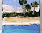 Miniature Impressionist Painting 4x4 FLORIDA BEACH Palm Trees LANDSCAPE Lynne French Art Free Shipping
