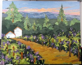 Impressionist Painting CALIFORNIA Plein Air WINERY Barns Grapevines VINEYARD Landscape Art 16x20 Lynne French