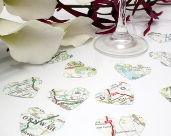 Paper heart wedding confetti- 200 vintage map die cut punched hearts 3.5cm by 3cm- Great romantic Valentines table decoration- Travel