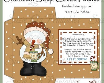 Snowman Soup Envelope - NEW DESIGN - Digital Printable - Good Seller for Winter Craft Shows - Immediate Download
