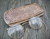 Antique eyeglasses with case, eyeglasses with case, ornate eyeglass case, movie prop, staging prop, wire rim glasses, display glasses