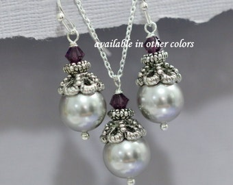 CUSTOM COLOR Mothers of the Bride and Groom Gift,  Swarovski Light Grey Pearl and Amethyst Purple Crystal Jewelry Set Light Grey Jewelry Set