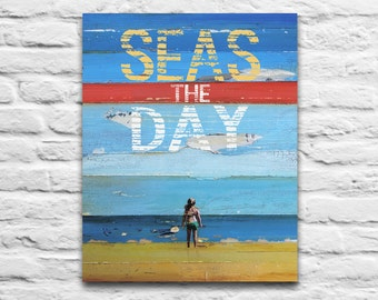 INSTANT PRINTABLE, Seas the Day, Carpe Diem, Seize the Day, Dead Poets Society, Couple, wedding gift , Beach decor, 8x10 11x14 Jpeg