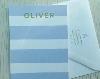 Personalized stripe stationery