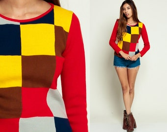 Color Block Sweater 80s Tight Knit retro GEOMETRIC BRICK Print 90s Grunge 1980s Square Vintage Retro Yellow Blue Red small Medium