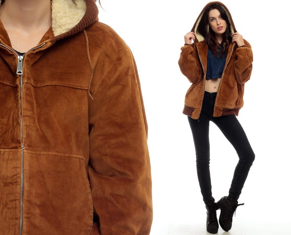 Hooded Jacket Brown CORDUROY Jacket Hood Coat Moto by ShopExile