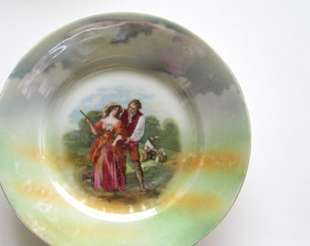 Decorative Plate Romantic Country Scene Lusterware China