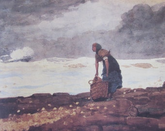 Winslow Homer, Girl with Red Stockings, Color Plate Of 1882 Watercolor, Unframed Book Page
