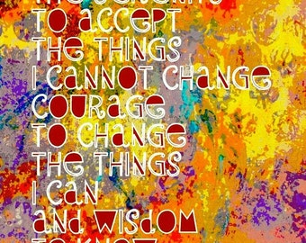 Serenity Prayer Giclee Print Original Artwork Digital print 8x10
