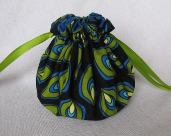 Jewelry Bag - Medium Size - Traveling Jewelry Pouch -  Fabric Jewelry Tote - POISON FROG