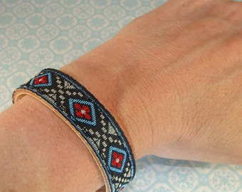 6 Leather Bracelets Black & Blue Ribbon Cuffs to Stud or Decorate or Wear as is - 5/8 Inch Wide Adjustable with Snaps Jewelry Supplies