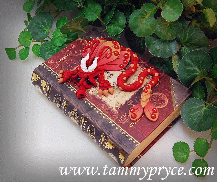 Red Clay Dragon: Ooak Polymer Clay Red Sad Little Dragon Sculpture On Paris