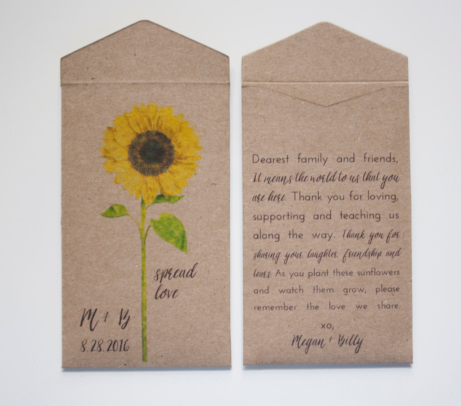Sunflower Seed Packet Wedding Favor Envelopes Personalized