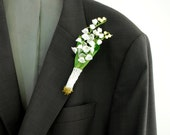 lily of the valley boutonniere, spring weddings accessories, grooms boutonniere, bridal brooch, May wedding, white green flowers, nature