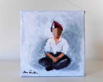 Boy In A Red Hat - Small Original Painting On Canvas
