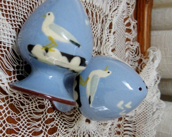 Vintage Salt and Pepper Shakers Torquay Mottoware Watcombe Sea Gulls Baby Blue Penzance 1950s