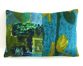 """Throw Pillow - Mid Century Modern Linen Pillow Cover - 1950s Eames Era Fabric in Blues Olive and Gold / 20"""" x 13"""""""