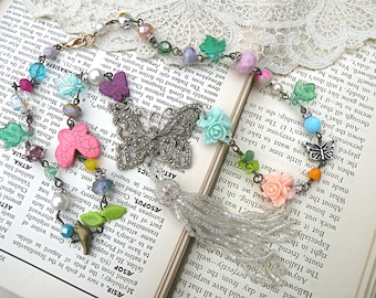 butterfly tassel necklace assemblage flower upcycle