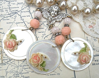 angel assemblage necklace pink rose cherub button upcycle