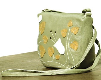 SALE women leather messenger bag, ladies Crossbody Bag, art nouveau bag, floral messenger, vintage sage green leather purse, summer fashion