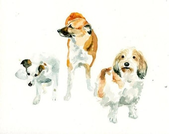 CUSTOM 3 PET PORTRAITS Original watercolor painting 8X10inch