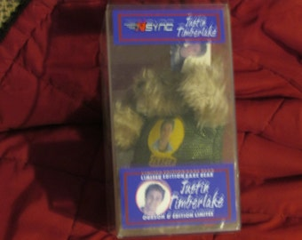 Vintage NSYNC Justin TIMBERLAKE Limited Edition Bear in Plastic Case
