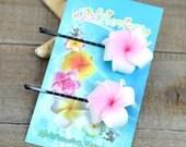 Pink Plumeria Bobby  Pins, 1 inch Flowers,   Floral Hair Pins