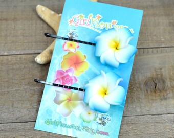Blue and Yellow  Flower Bobby  Pins, 1 inch Flowers,   Floral Hair Pins, Plumeria