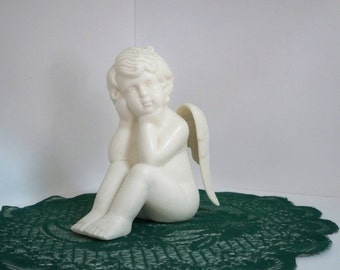 Vintage Collectible Figurine Angel White Ceramic Home Decor Angel Collector