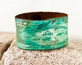 Earth Tones Bracelet - Leather Cuff Wristband - Women's Leather Bracelet Cuffs - Teal Turquoise Leather Jewelry