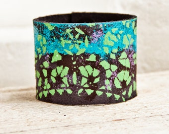 Mother's Day Jewelry Leather Cuff Natural Bracelet - Psychedelic Gypsy Boho Art - Etsy Finds Southwest Earthy Jewellery