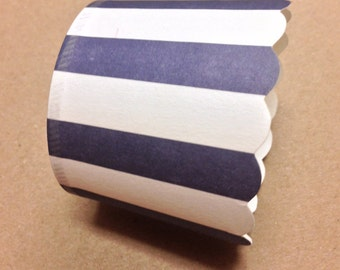 Navy Blue Stripe Nut or Portion Paper Baking Cups with Scalloped Tops - Navy Blue and White - set of 24