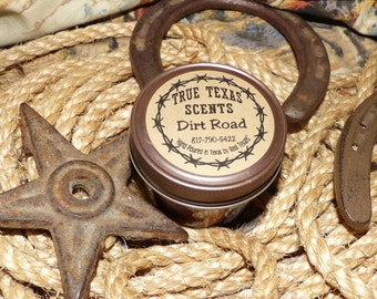 Dirt Road (clean dirt scent) 4 oz Mason Jar Western Cowboy Candle