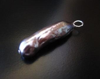 Biwa Pearl Pendant, Gray Biwa Stick Pearl Pendant, Gray Freshwater Pearl, Sterling Silver Pearl Pendant, Biwa Stick Pearl Jewelry