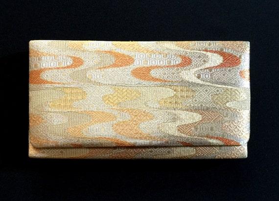 Vintage Japanese Kimono Clutch - Japanese Clutch - Bridal Clutch - Vintage Bag - Bridal Bag - Gold Clutch - Silver Clutch