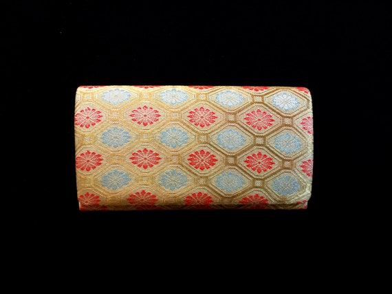 Vintage Japanese Kimono Clutch - Japanese Clutch - Bridal Clutch - Vintage Bag - Bridal Bag - Gold Clutch Red Blue