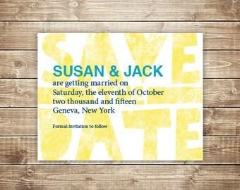 Printable Wedding Save the Date - Wood Type, Letterpress