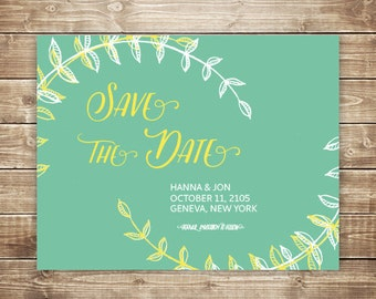 Printable Wedding Save the Date Card - Leafy Laurels