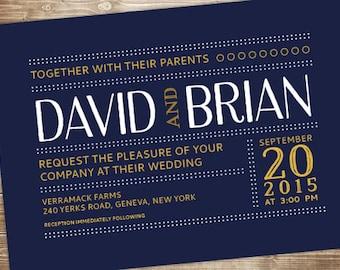 Printable Wedding Invitation Set - Invite, RSVP Card, Info Card - Typographic Dots