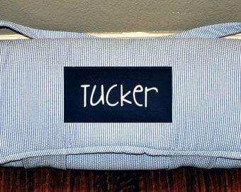 Nap Mat - Monogrammed Navy Seersucker Stripe Nap Mat with Navy Minky Dot Blanket