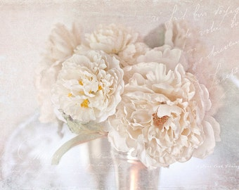 Peony photograph,white, cream,shabby chic, fine art print, floral photography,silver,still life,typography,cottage decor