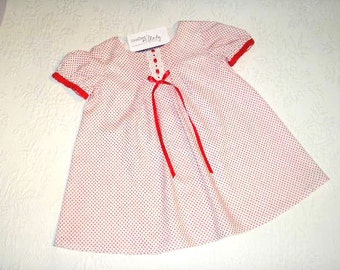 Size 2T Toddler Dress. Made from vintage dotted swiss with lace and satin ribbon trim.