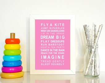 A5 unframed wall art print Dreams for your girl typography bus scroll poster