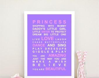 Princess Typography Bus Roll Wall Art Print