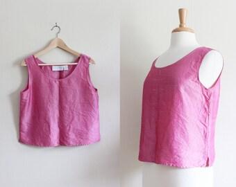 Vintage Iridescent Pink Silk Tank Top
