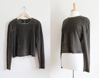 Vintage Long Sleeve Black Gold Metallic Crop Top
