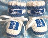Custom handmade knit DUKE UNIVERSITY inspired  baby booties 0-12M-cute gift photos Blue & White colors