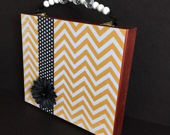 Statement handbag, Chevron Striped Handbag, Wood Cigar Box Purse, Black and White, polka dot, teen girl gift