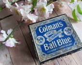 Ornate Vintage Box - Colman's Finest Ultramarine Ball Blue - Made in England - Lovely Graphics