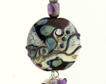 Lampwork Glass Bead Pendant, Sterling Silver with Gemstones Burgundy Blue Green Ivory